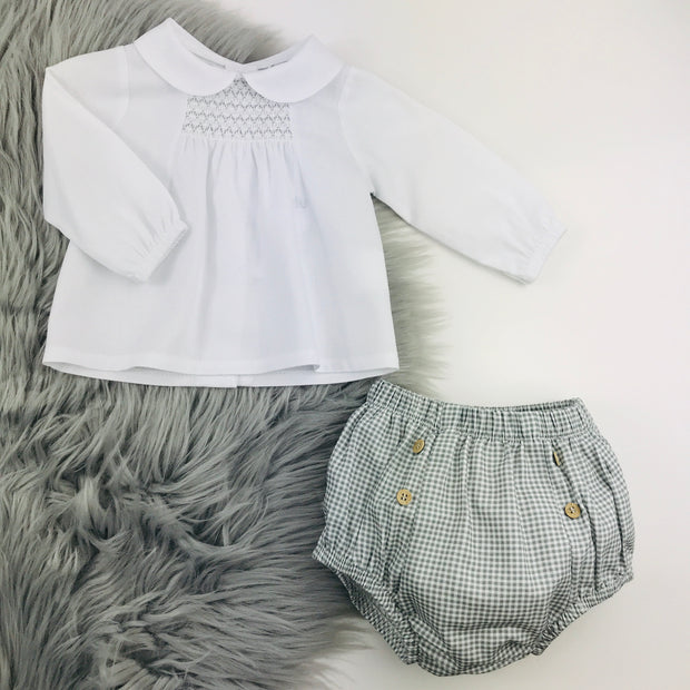 Grey & White smocked Spanish Jam Pants Set 2 piece