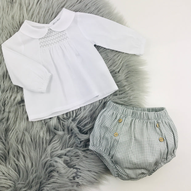 Grey & White smocked Spanish Jam Pants Set