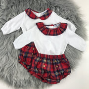 Red Tartan Peter Pan & Frilly  Collar Jam Pants Set