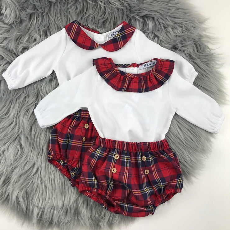 Red Tartan Frilly Collar & Peter Pan Jam Pants Set