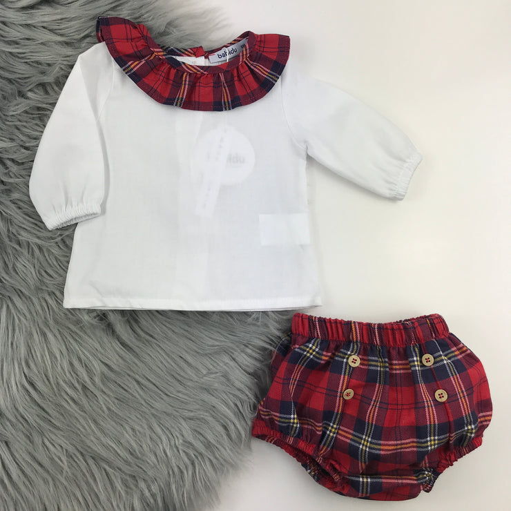 Red Tartan Frilly Collar Jam Pants Set