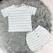 Cream & Baby Blue Terry Towelling Jam Pants & T-Shirt Set
