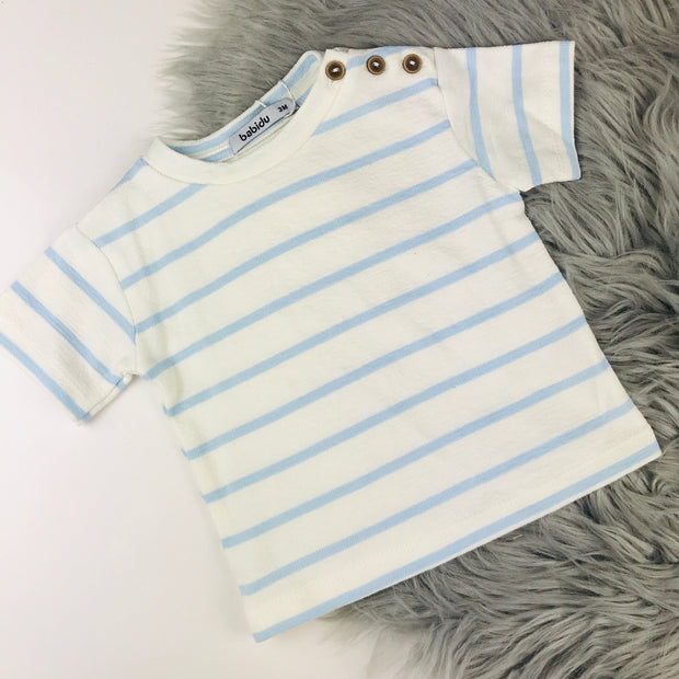 Cream & Baby Blue Terry Towelling  T-Shirt