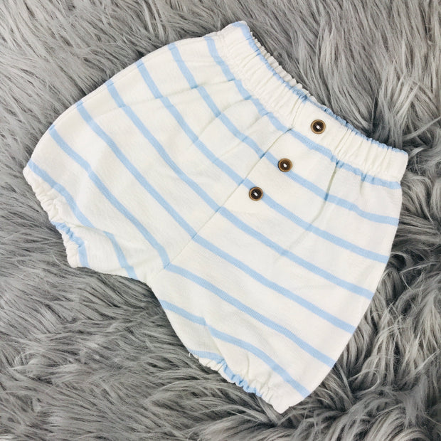 Cream & Baby Blue Terry Towelling Jam Pants