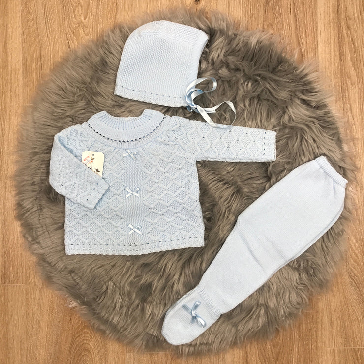 Baby Blue Knitted Three Piece Spanish Set