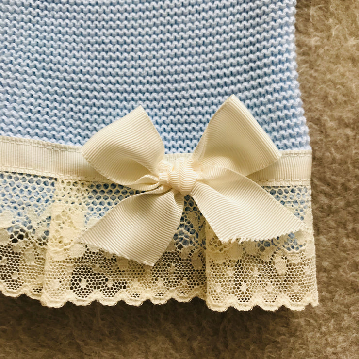 Blue Two Piece Knitted Set with Cream Lace Trim and Bow