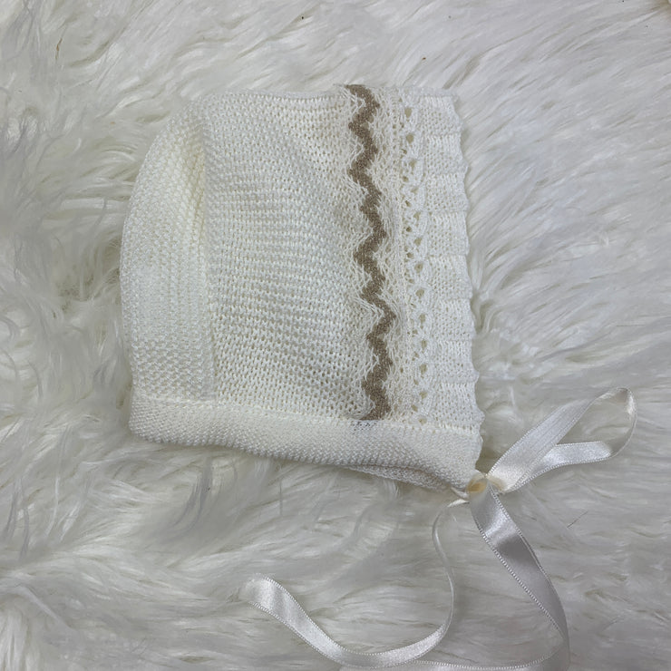 White & Cream Unisex Fine Knit Three Piece Spanish Set Hat