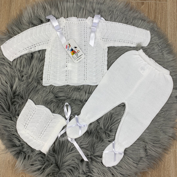 Unisex White Knitted Three Piece Spanish Set With Ribbons