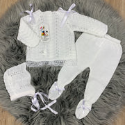 Unisex White Knitted & Lace Three Piece Spanish Set