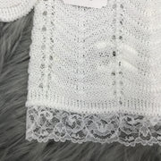 Unisex White Knitted & Lace Three Piece Spanish Set Close