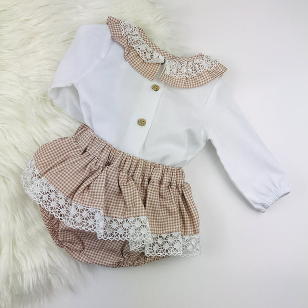 Rose Gold Checked Frilly Collar Jam Pants Set Back