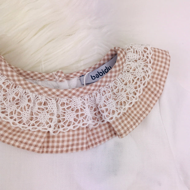 Rose Gold Checked Frilly Collar Close