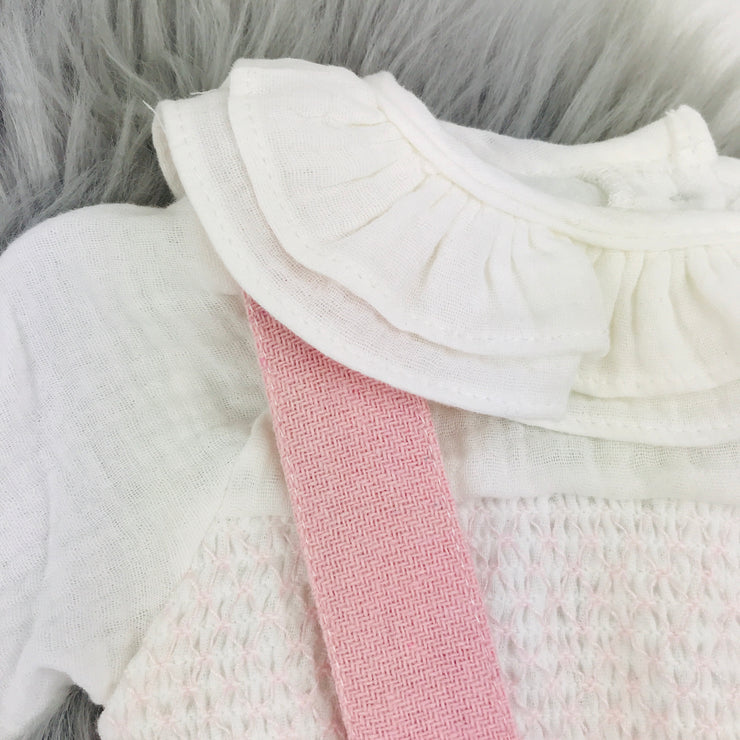 Pink & Ivory Wool Dungaree Romper Set Collar Close