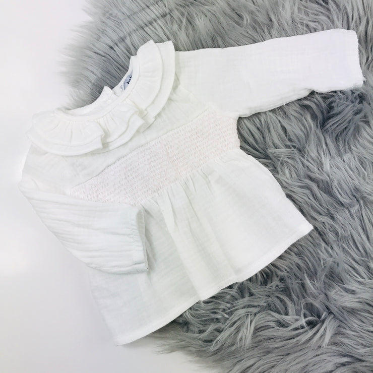 Pink & Ivory Wool Dungaree Romper Set Blouse