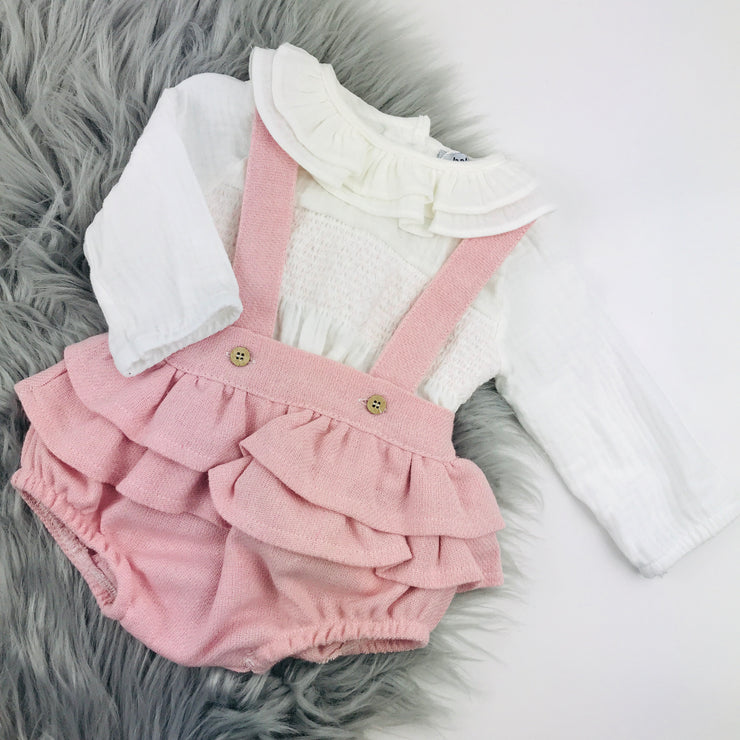 Pink & Ivory Wool Dungaree Romper Set
