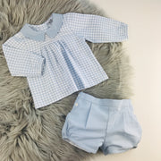 Powder Blue & White Checked Shirt & Shorts