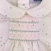 Dusky Rose & Cream Spanish Jam Pants Set Smocking Close