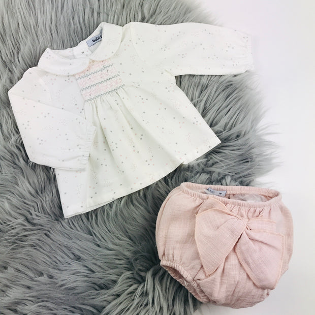 Dusky Rose & Cream Spanish Jam Pants Set 2 Piece