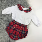 Red Tartan Peter Pan Collar Jam Pants Set