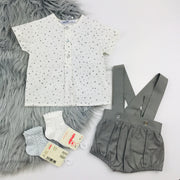 Babidu Grey & White Shorts & T-Shirt Set