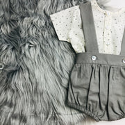 Grey & Cream Shorts & T-Shirt Set