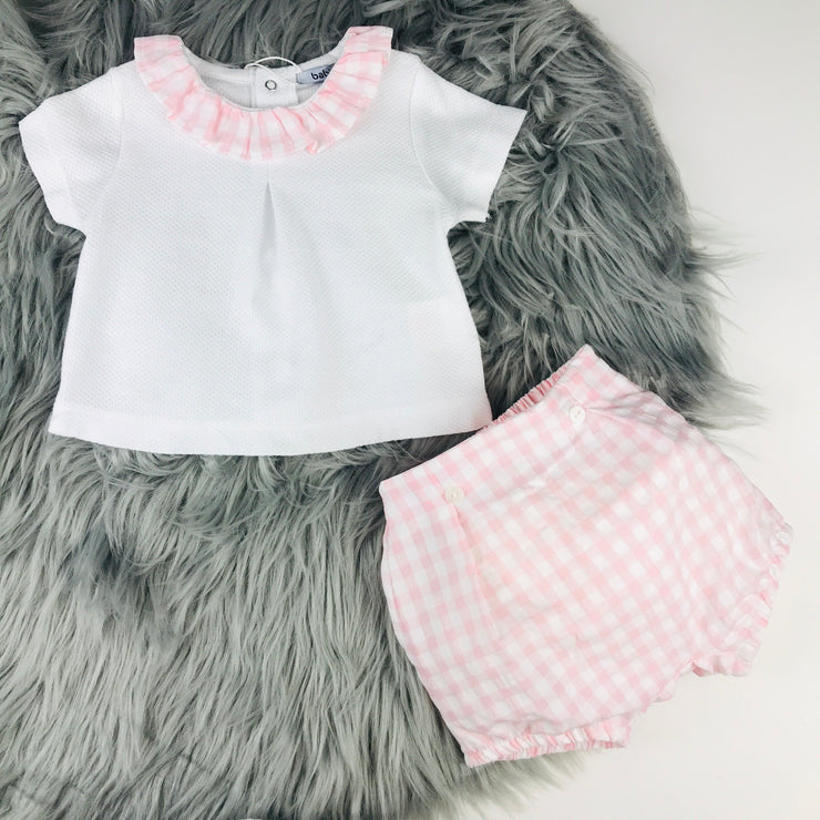 Pink & White Check Bloomers & T-Shirt Set