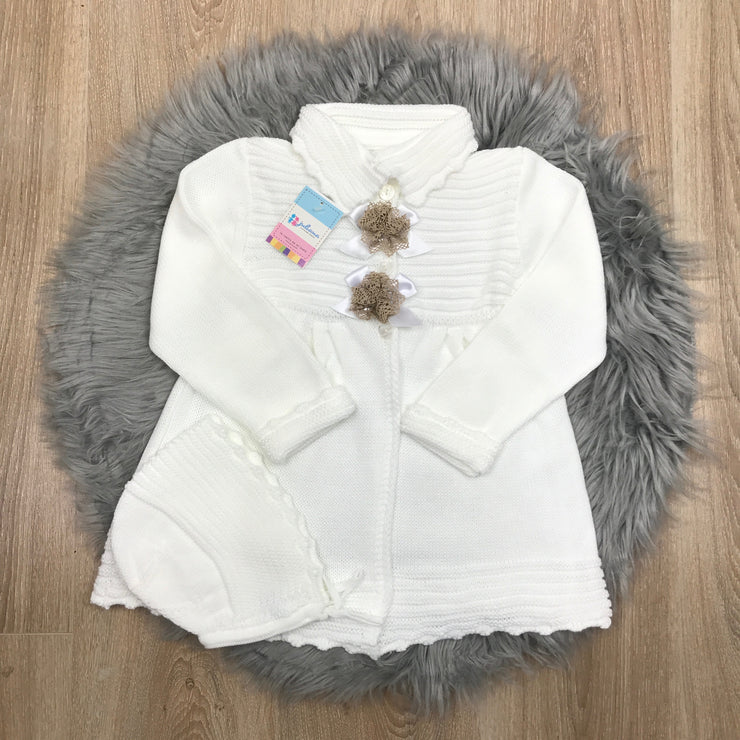 White Knitted Spanish Pram Coat
