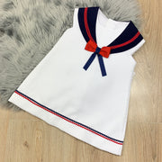 Girls White Spanish Style Sailors Dress