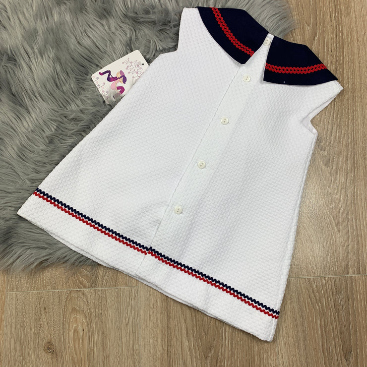Girls White Spanish Style Sailors Dress Back