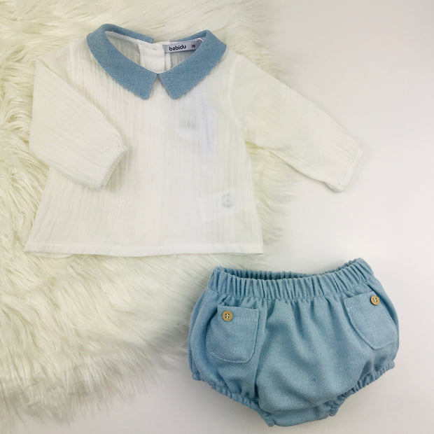 Ivory & Sky Blue Spanish Jam Pants Set 2 Piece