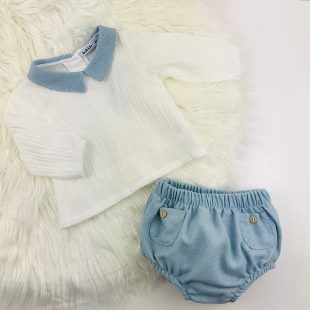Ivory & Sky Blue Spanish Jam Pants Set