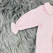 Pink Checked Frilly Collar Jam Pants Set by Babidu