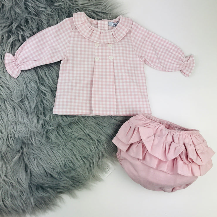 Pink Checked Frilly Collar Jam Pants by Babidu