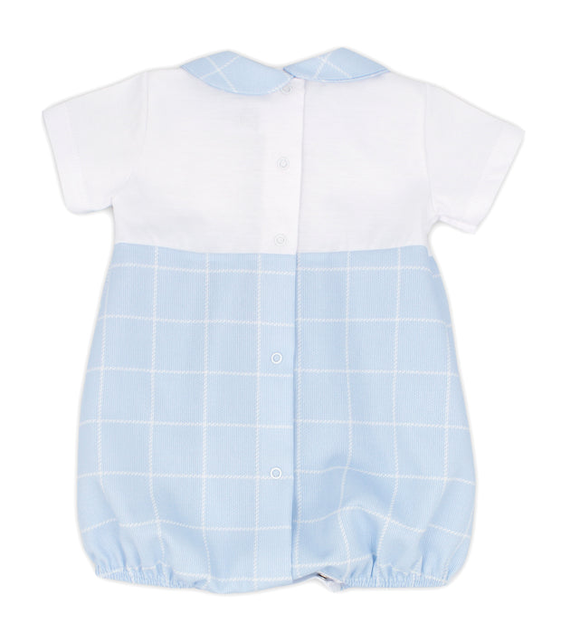 White & Sky Blue Spanish Romper Back