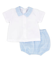 White & Sky Blue Spanish Jam Pants Set