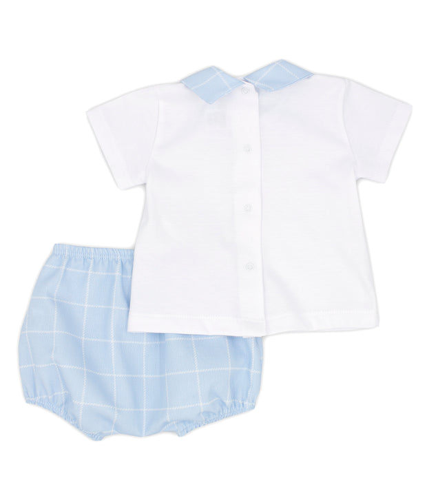 White & Sky Blue Spanish Jam Pants Set Back