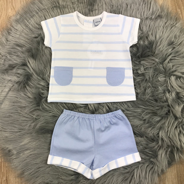Baby Blue & White Shorts & T-Shirt Set