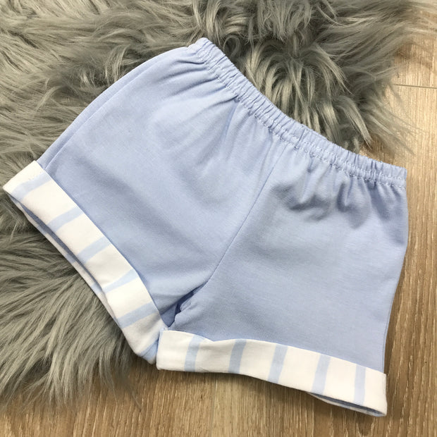 Baby Blue & White Shorts