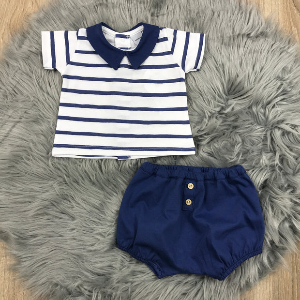 Navy Blue & White Shorts & T-Shirt Set