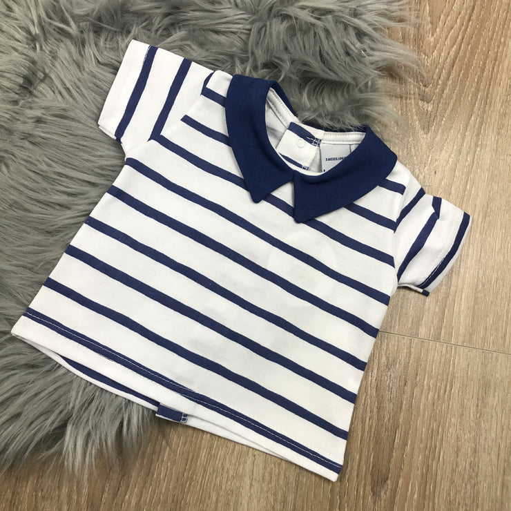 Navy Blue & White Shorts & T-Shirt Set Top
