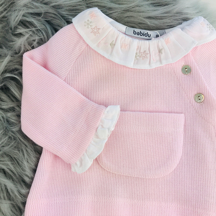Pink Spanish Knitted Jam Pants Set Close