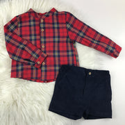 Red Tartan Shirt & Shorts Set