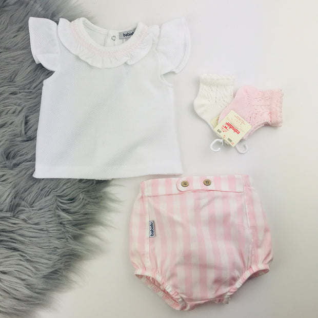 Pink & White Checked Jam Pants & Vest Set