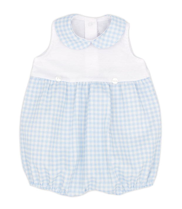 White & Sky Blue Gingham Spanish Romper