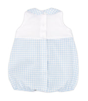 White & Sky Blue Gingham Spanish Romper Back