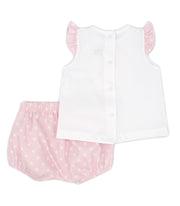 White & Pink Spanish Jam Pants Set Back