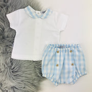 Blue & White Checked Jam Pants & Top Set