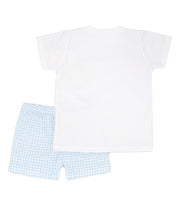 White & Sky Blue Gingham Spanish Short Set Back
