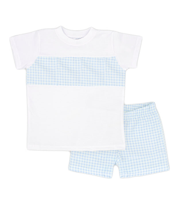 White & Sky Blue Gingham Spanish Short Set