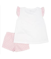 Girls White & Pink Spanish Short Set Back